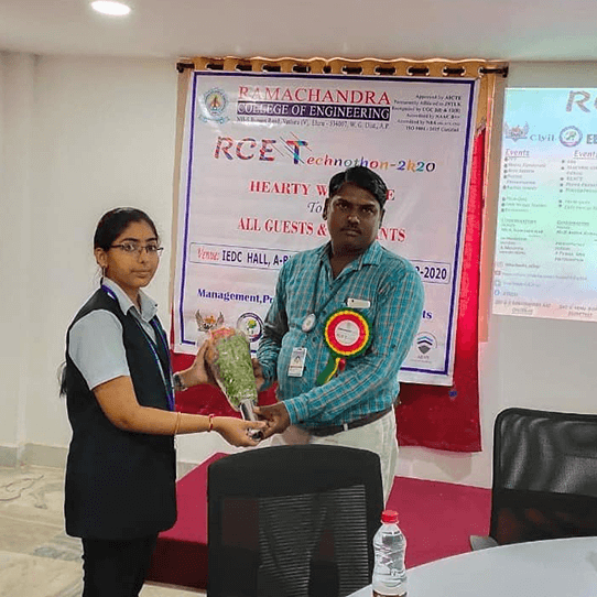 RCEE Student receving Prize for winning